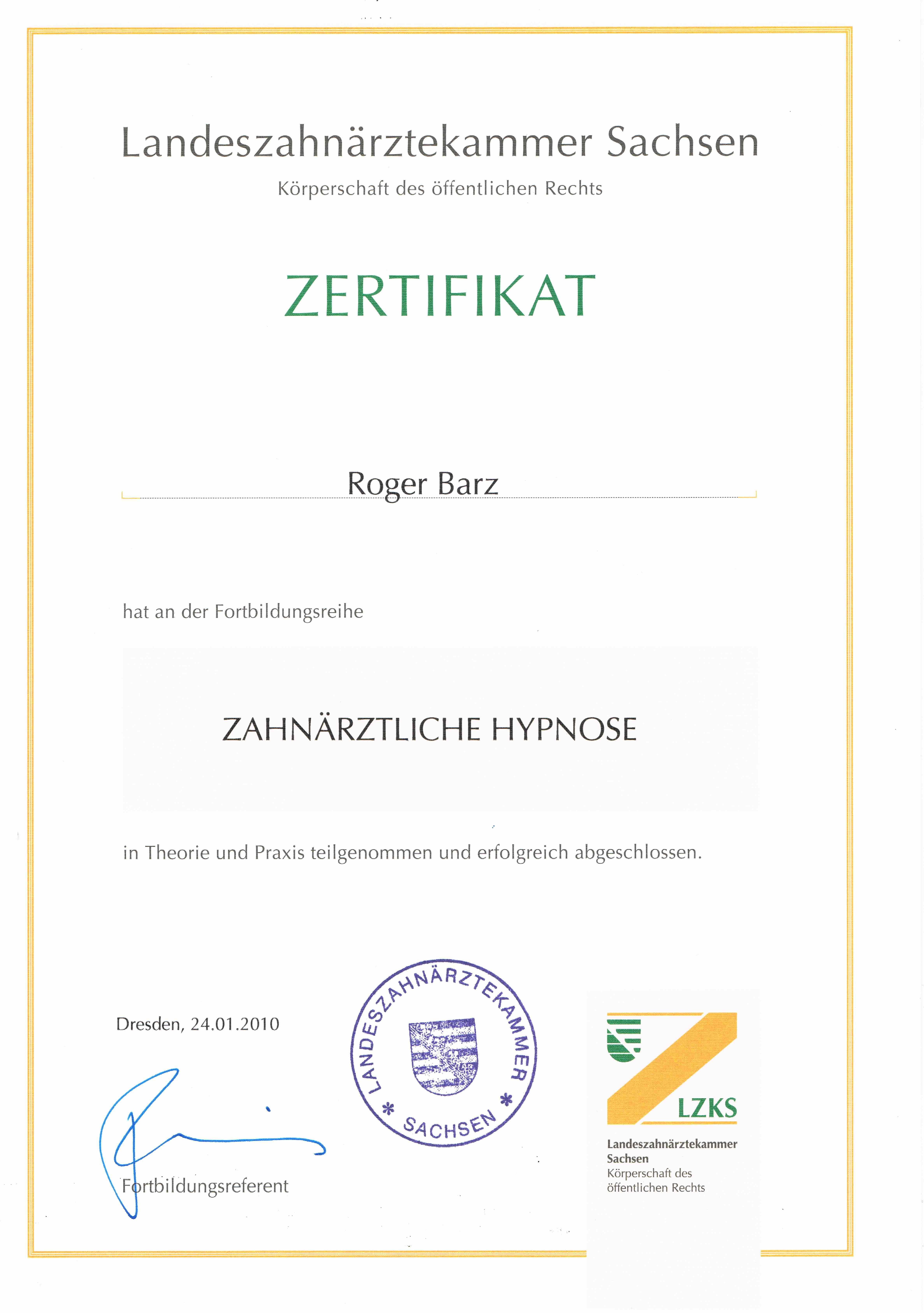 Zertifikat Zahnärztliche Hypnose Zahngesundheit Halle