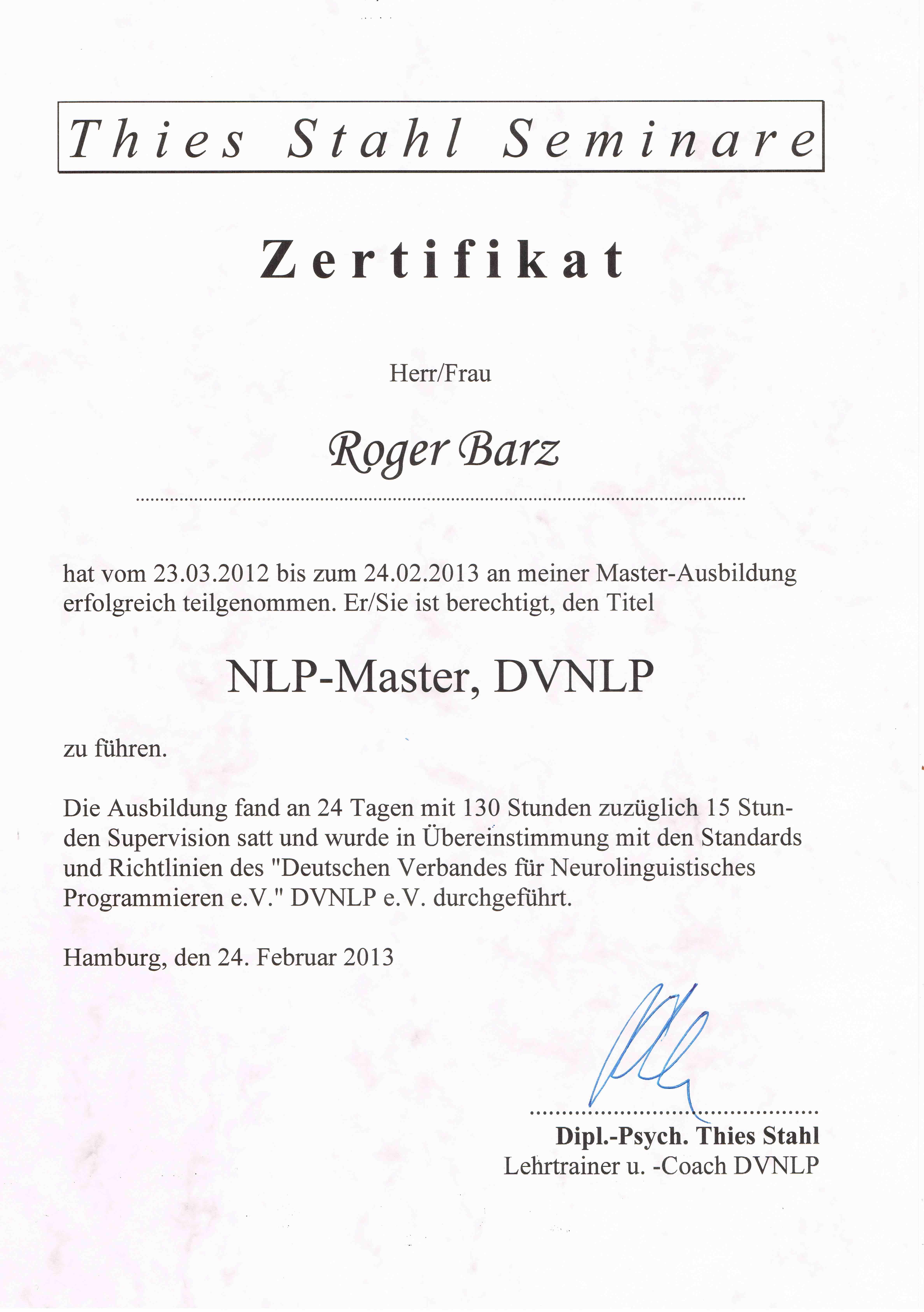 Zertifikat NLP Master Hamburg Zahngesundheit Halle