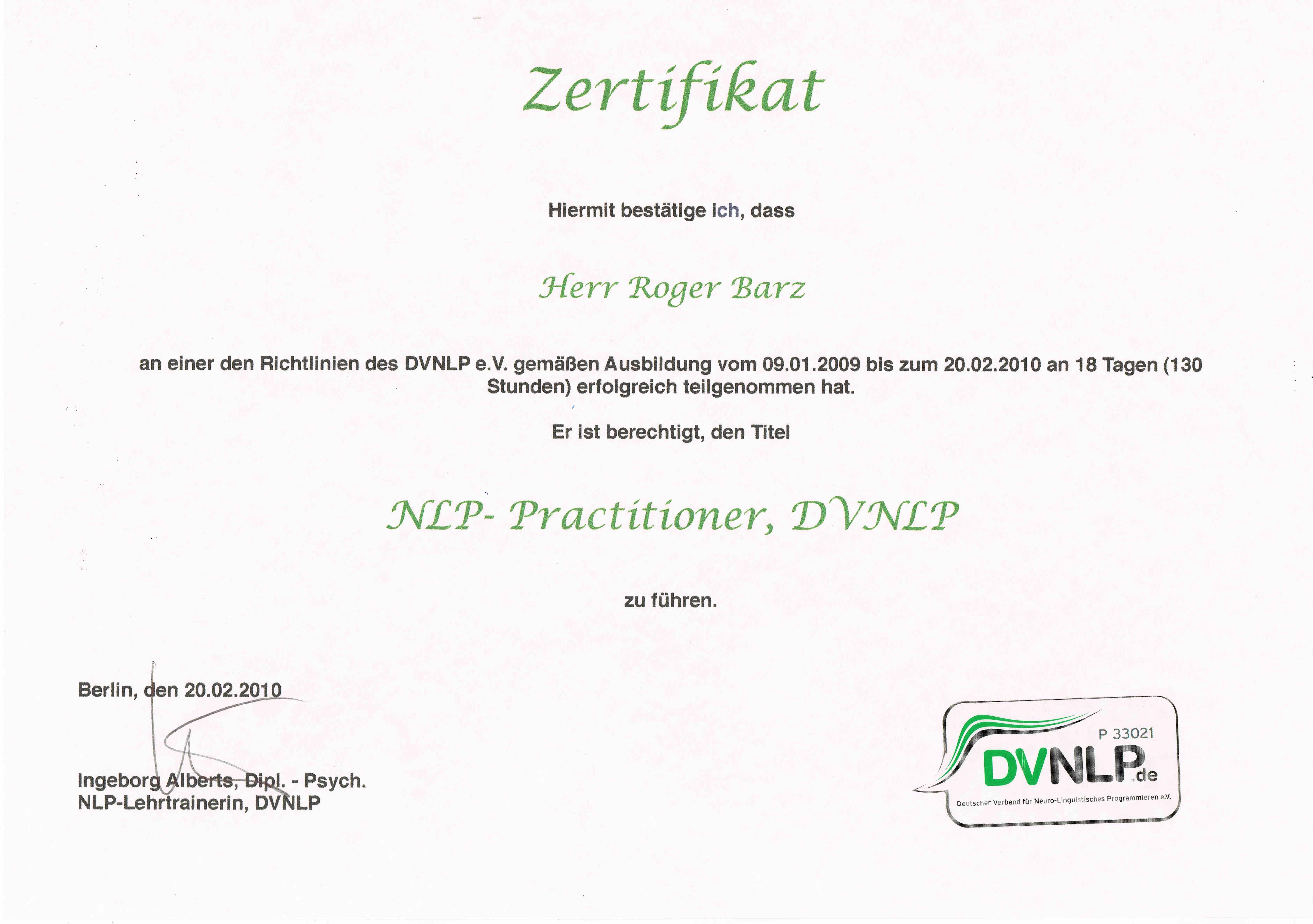 Zertifikat NLP Practitioner Zahngesundheit Halle