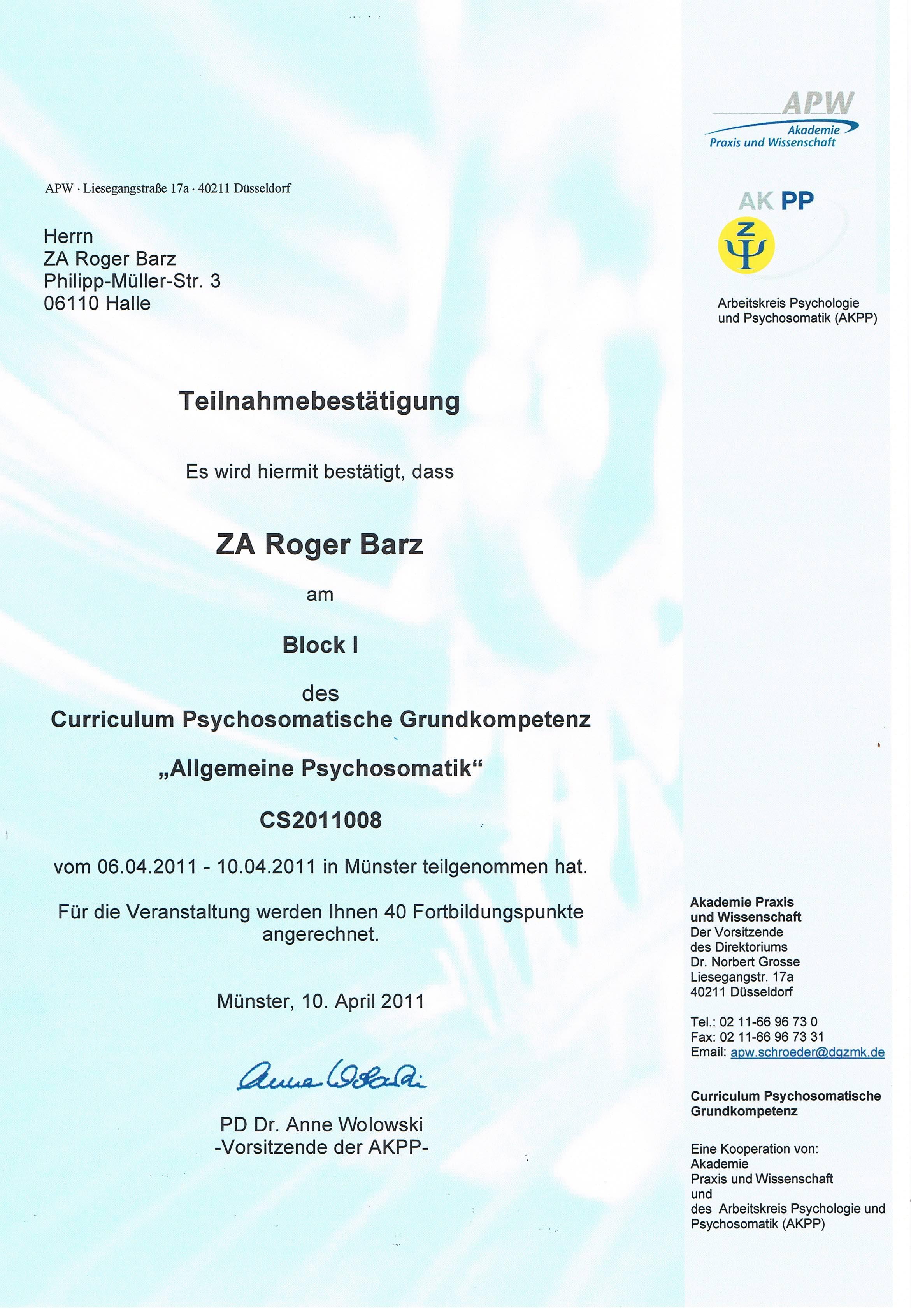 Zertifikat Psychosomatik Zahnmedizin Zahngesundheit Halle