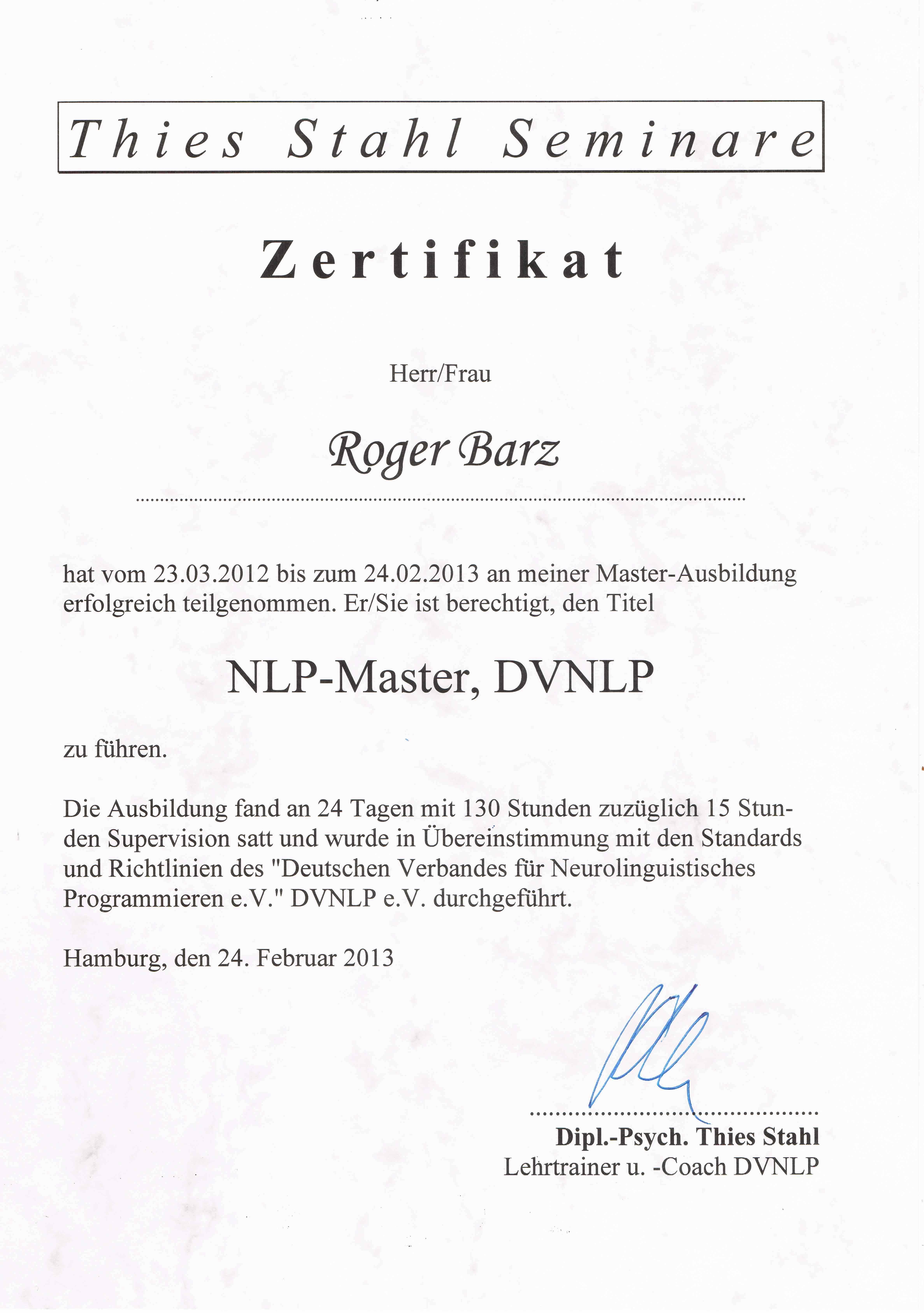 Qualifikation NLP Zahnarztpraxis Roger Barz