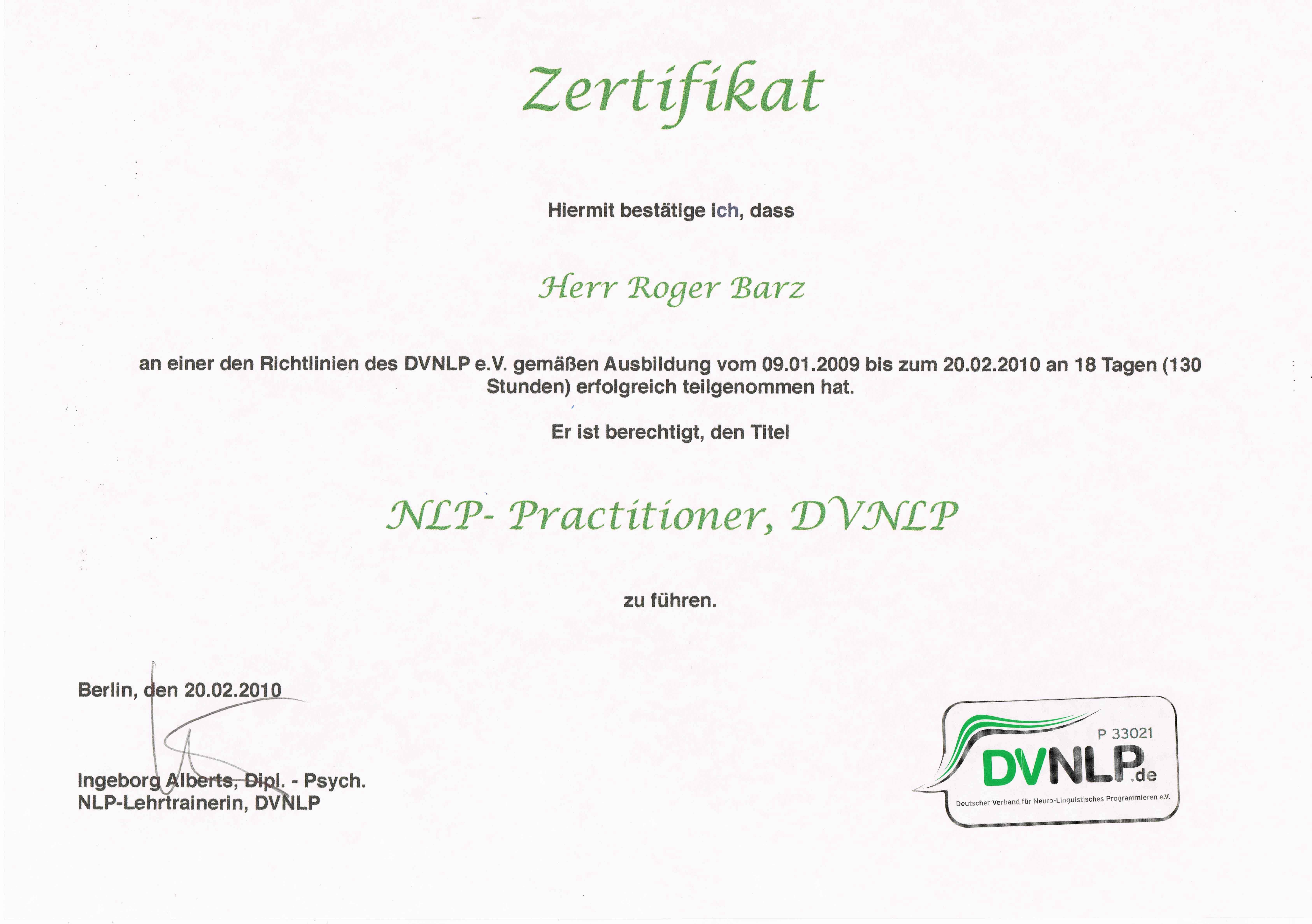 NLP Practitioner Zahnarztpraxis Roger Barz