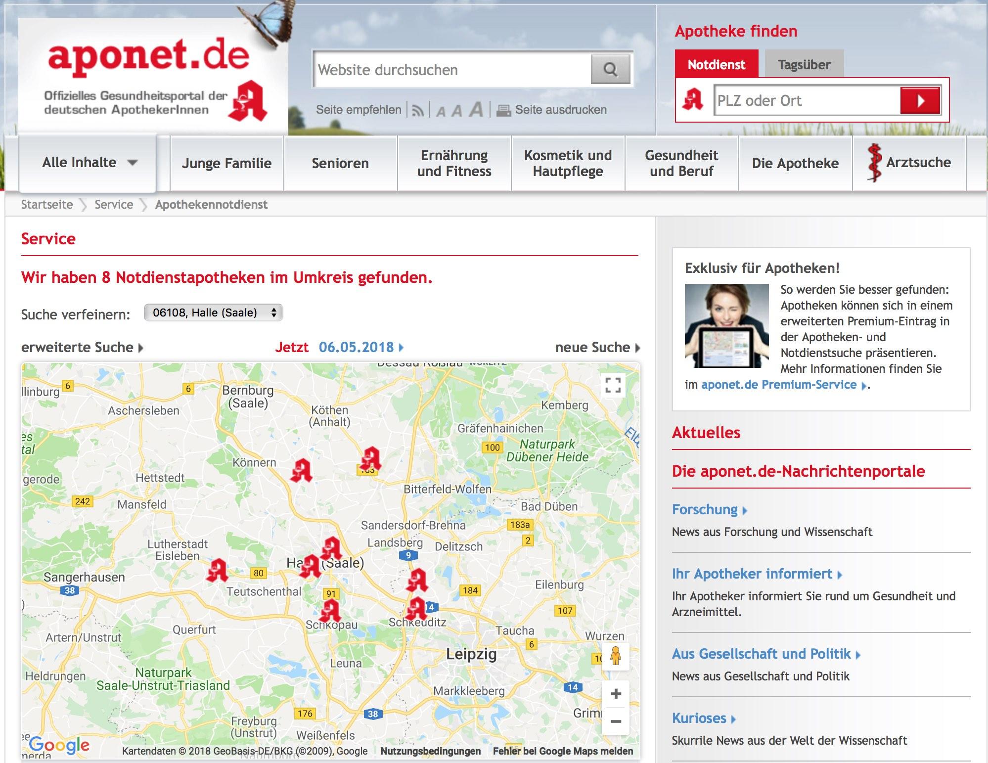 Website Aponet Zahngesundheit Halle