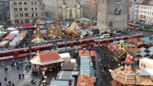 Blick auf den Weihnachtsmarkt Halle 2017 Zahngesundheit Halle Saale